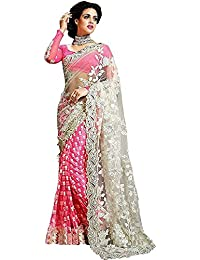 Madhav Designer Women's Georgette & Net Saree With Blouse Piece (Pink & White SareeS,Free Size)