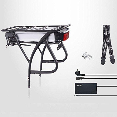 "E-Bike,Pedelec,Elektrofahrrad Akku Kit,26\""-28\"",48V 13Ah (624Wh) Fahrrad Akku,Gepäckträger Umbausatz,inkl. Ladegerät, silber/schwarz"