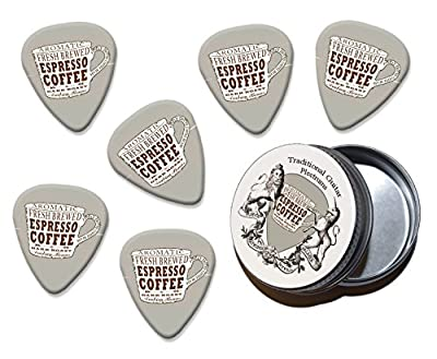 Espresso Coffee Cup Martin Wiscombe 6 X Guitar Picks In Tin Vintage Retro by Printed Guitar Picks