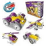 4 in 1 Bausteine Kinderspielzeug – CARLORBO Spielzeugmodell Fahrzeug Flugzeug Motorrad, Geschenkideen Spielzeug ab 5 Jahren(100 Stück)