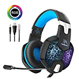Auriculares Gaming para PS4, YINSAN Cascos Gaming Premium Stereo con Micrófono, 7 Luces LED y Orejeras de Memoria Suave con Control de Volumen para Xbox One X/S, Nintendo Switch, PC, Laptop, Tableta
