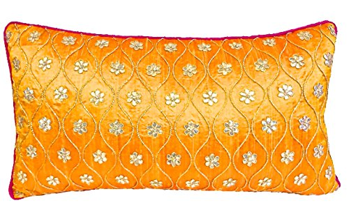 the-indian-promenade-13-x-23-inch-gotta-pure-raw-silk-patti-cushion-cover-mustard