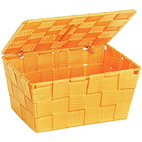 Wenko 22203100 Adria-Cesta de almacenaje transparente con tapa polipropileno, color naranja, 19 x 14 x 9,5