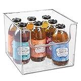 mDesign Caja de almacenamiento de alimentos – Organizador de frigorífico, armario o arcón congelador con frontal abierto – Caja de plástico para frigorífico sin BPA – transparente