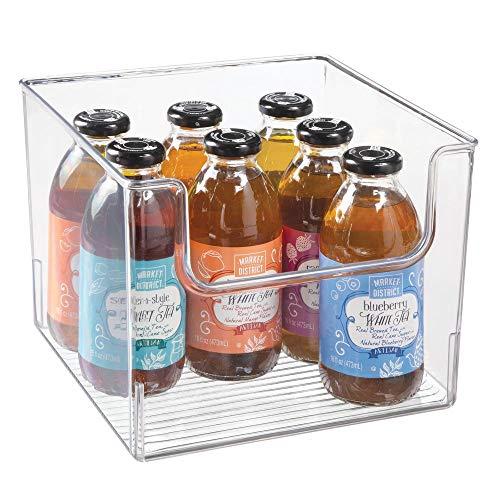 mDesign Aufbewahrungsbox für Lebensmittel - Küchen Ablage mit offener Vorderseite für Kühlschrank, Schrankfach oder Gefriertruhe - Kühlschrankbox aus BPA-freiem Kunststoff - durchsichtig