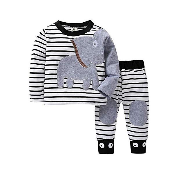 ShangSRS 2-5 años Niño Niña Oso Rayado Patrón Tops Pantalones Otoño/Invierno Ropa Conjuntos 1