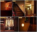 BONGEM Motion Sensor Light,3 AAA Battery-Powered LED PIR Body Motion Light Sensor LED Night Light, Great for Corridor, Bedroom, Kitchen, Christmas,Closet, Stairs, Etc(Light:Warm White)