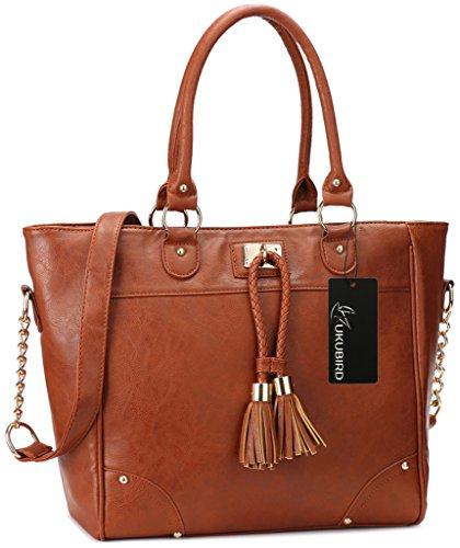 Kukubird Damen Designer Leder Stil Große Quaste Detaillierung Große Tasche Schulter-Satchel-Handtasche Rotbraun