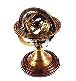 Ares India 5 Nautical Brass Armillary Sphere World Globe Rosewood Base Table Decor Gift