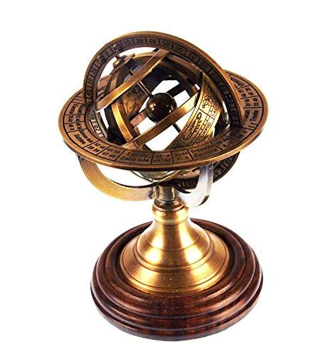12,7 cm Nautisches Messing Armillarsphäre World Globe rosenholzsockel Tisch Decor Geschenk -