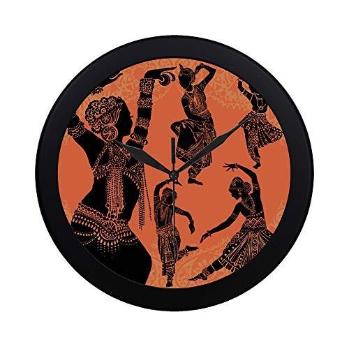 WOCNEMP Moderne einfache schöne Frau des schwarzen Afrikaner-Frauen-Wanduhr-Innenseiten-Bewegungs-Wand Clcok für Büro, Badezimmer, Wohnzimmer dekorativer 9.65 Zoll (Traditionelle Tanz Kostüm Von Indien)