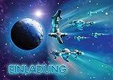 12 Einladungskarten zum Kindergeburtstag Space-Party Weltraum Raumschiff Weltal Spaceshuttle/ Einladungen zum Geburtstag