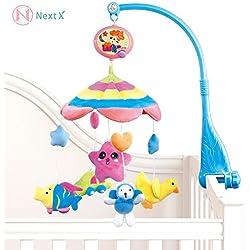 NextX B201 del bebé y de la muchacha ropa de cama cuna musical móvil con el colgante giratorio de colores suaves muñecos de peluche, Animal Amigos, caja de música eléctrica de 20 melodías juguete educativo (B201-Fru fru)