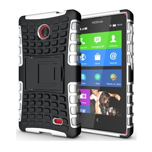 Heartly Flip Kick Stand Hard Dual Armor Hybrid Bumper Back Case Cover For Nokia X X+ Dual Sim Plus Android A110 - White  available at amazon for Rs.399