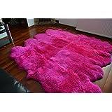 Rosa Octo alfombra de piel de oveja alfombra Natural suave lana, piel sintética, Rosa, mediano