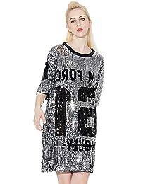 804f5a37bb Feicuan Mini Vestido Lentejuelas para Mujer - Manga 3 4 Camisetas holgadas  Moda Tops Blusa Casual Party Club…