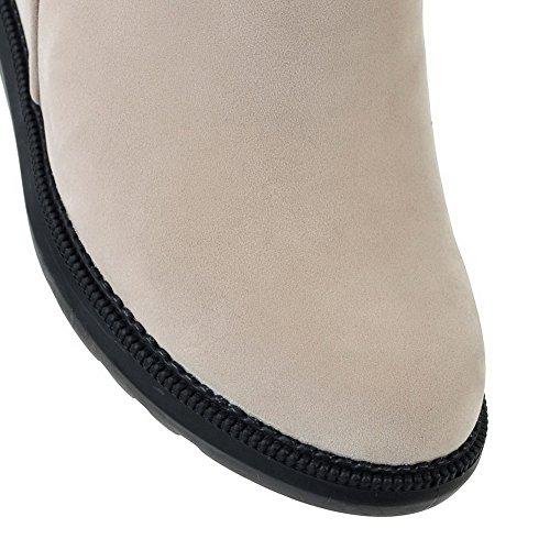 VogueZone009 Donna Tacco Alto Puro Punta Tonda Allacciare Stivali con Nodo Beige