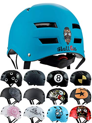 Skullcap Casque BMX - Casque Skate - Casque Velo, Design: Blue Ocean, Taille: M (55 – 58 cm)