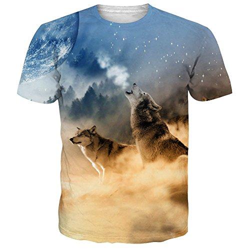 NEWISTAR Unisex 3D Druckten Sommer-beiläufige Kurze Hülsen-T-Shirts T-Stücke L