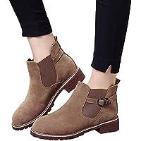 Botas Cortas de Hebilla de Las Mujeres, Zapatos de Punta Redonda Botines Planos