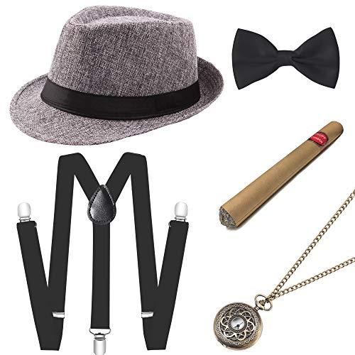 Männer Kostüm Hüte - Coucoland 1920s Herren Accessoires Mafia Gatsby Kostüm Set inklusive Panama Gangster Hut Verstellbar Elastisch Hosenträger Herren Halsschleife Fliege Taschenuhr und Plastik Zigarre (Grau)