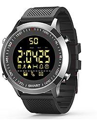 Smartwatch pulsera actividad Bluetooth Fitness Trackers reloj inteligente con cronómetro podómetro para hombre mujer teléfonos Android compatibles con iOS (negro)