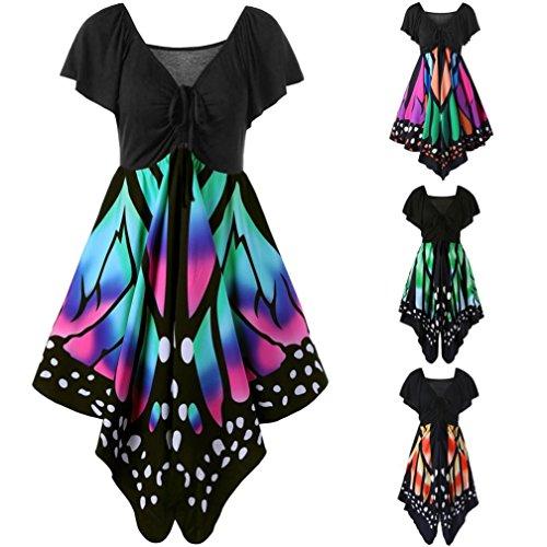 Manadlian-Robes Soirée Courte,Robe de Soirée Femmes Taille Haute Manches Courtes Papillon Impression Asymétrique Sangles Robe Vert