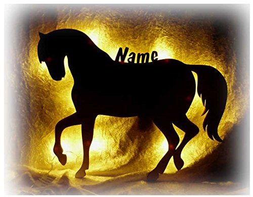 Schlummerlicht24 3d Led Nacht-Licht Pferd-e Mit Name personalisiert Ein Elektronik Holz Wand-Tattoo Geschenk für Mädchen Baby Erwachsene Freundin Frauen im Kinder-Zimmer