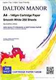 DALTON MANOR 140gm Cartridge Paper - White A4 - 250 Sheet pack Supplied in a Weston Clear Storage Craft Box Sketching Drawing Paper Ideal for High Quality Laser Printing.