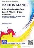 Dalton Manor Paquet de 250 feuilles de papier cartonné 140 g/m², blanc, format A4, livrées dans une boîte de rangement Weston transparente - papier à croquis/dessin, idéal pour les impressions laser