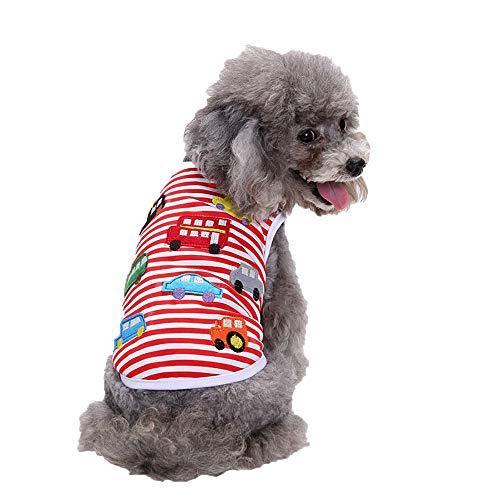 Kleidung Kleine Hund Baumwolle Stripe Auto Muster Stickerei Weste Hemd T-Shirt Welpen Katze Rock Kleiden Kostüme(M, Rot) ()