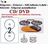 Etiquetas CD–DVD autoadhesivas Maxi con refuerzo adhesivo de diámetro 117mm + agujero 17mm–verso opacifié para éliminer todo efecto de transparencia (CD color o Imprimé) o para cubrir una etiqueta existante–incluye cursor de Placement–Hoja de 2etiquetas–etiqueta CD/DVD para impresora de inyección de tinta y Laser- para impresora y personalizar vos CD–compatibles todos Software Standards referencia ugcd2 100 ériquettes