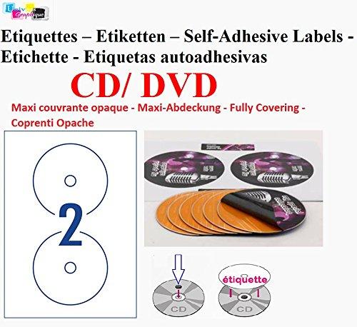 100 cd dvd-Etiketten, selbstklebende Rückseite, opak, selbstklebend, Durchmesser 117 mm mit 17 Rückseite mm Lochung, blickdicht, um die Auswirkungen der Transparenz (cd, Farbe oder bedruckt) Kennzeichnung oder um eine bestehende; inkl. Schieber Investmentfonds-Blatt-Etiketten Etikett für cd/dvd Inkjet- und laser- Drucker und effektvolle Briefe cd mit Bilder oder einen Wortlaut, für alle Standard-Software auf UGCD2 (Dvd-drucker-etiketten)