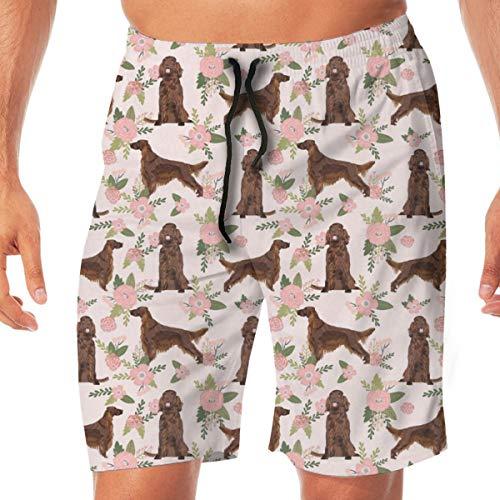 Nicegift Irish Setter Dog Floral PrintPeach Florals, Flower, Cute Dog Surfing Pocket Elastic Waist Men's Beach Pants Shorts Beach Shorts Swim Trunks Large Chaps-mens Tie