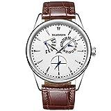 guanqin Analog Quarz Herren Beliebte Marke Edelstahl und Leder Kalender Woche Wasserdicht modische Einzigartiges Design Armbanduhr Silber Weiß Braun