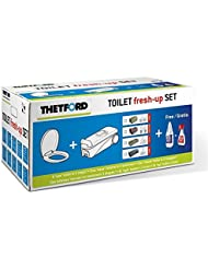 THETFORD Fresh up Set C-2/3/4 LINKS mit Räder+Griff inkl. Brille/Deckel, Tank Cleaner(1l. für Fäkalientank)+Badreiniger(500ml.) Wohnwagen Camping mobile Toiletten Outdoor Caravan