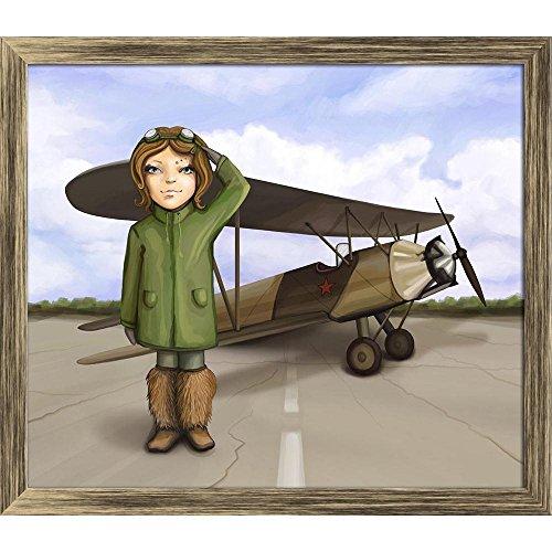Pitaara Box Little Aviator Girl Standing Near Airplane Canvas Painting Antique Golden Frame 23.3 X 20Inch Ag Aviator