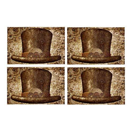 Retro Steampunk Zylinder in Metall Kupfer Zahnräder und Zahnräder abwaschbarem Stoff Tischsets Fleckabweisend Tischset für Esstisch Durable Kitchen Table Mats , 4er-Set