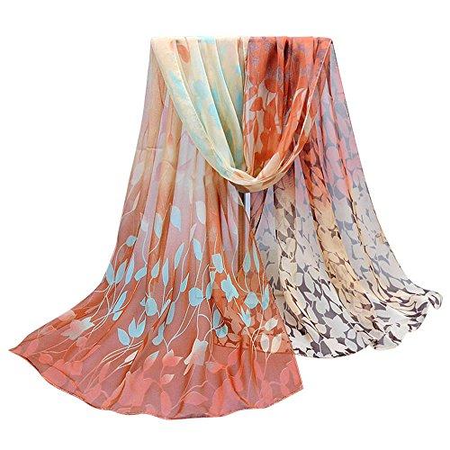 OVERDOSE Damen Seidenschals Frauen Blumen Printed Soft Silk Chiffon Schal Wrap Schals Halstuch T/ücher Schlauchschal