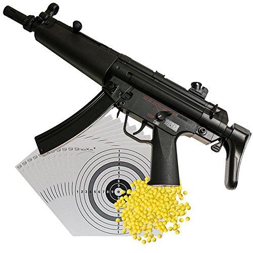 Softairgewehr Heckler & Koch MP5 AEG Sportsline Kal. 6mm, maximal 0,5 Joule + 2000 Softair BBs Kal. 6 mm 0,12 g (im Beutel) + 10 original ShoXx.® shoot-club Zielscheiben mit 250 g/m² 14x14cm
