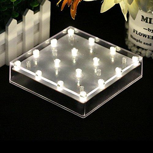 (JIANUO SHIYE 5 Zoll Acryl Square LED Platte Licht, Hochzeit, Party, 16 LED Vase Basis Licht für Home Table Center Stück Dekoration (Warm White))