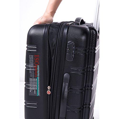 Travelhouse ABS Hard shell Travel Trolley Suitcase 4 wheel Luggage set Hand Luggage (3 PCS, Black)