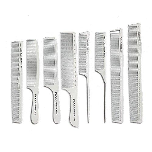 Set di 8 pettini bianchi da barbiere, professionali, in carbonio, resistenti al calore, antistatici, ideali per parrucchieri