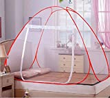 #10: Cratos Double Bed Mosquito Net - Foldable - White Color with red Border