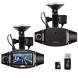 Think Sogood 6,9cm LCD Dual Lens Dash Cam, HD 720p auto DVR con 140° obiettivo grandangolare frontale e posteriore 120° grandangolare fotocamera, registratore di guida con g-senor, loop recording, visione notturna, rilevamento del movimento