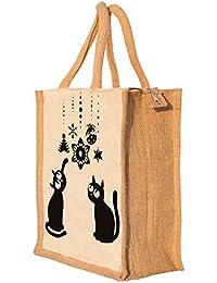 Nisol Cute Cats Classic Printed Lunch Bag | Tote | Hand Bag | Travel Bag | Gift Bag | Jute Bag
