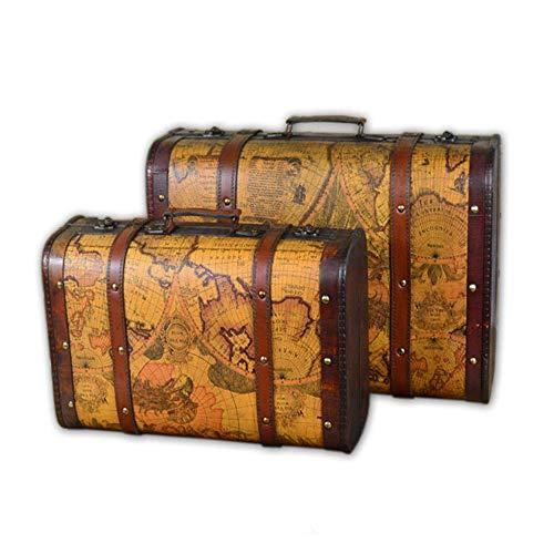 Andyjerzy viaggi valigia dei bagagli set di 2 treasure chest semplice contenitore di legno con il cuoio dell'unità di elaborazione, vintage bagagli valigia decorativo mappa a tema regali accessori