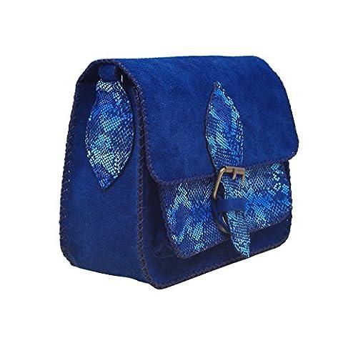 Koson Leather Ozean-blaues echtes Kuh-Leder-handgemachte Schultaschen-Schulter-Unisexfest-Festival-tägliche Handtaschen-Kurier-Beutel