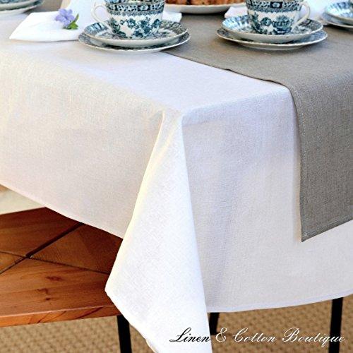 Linen & Cotton - Mantel Elegante de Tela Blanco, 50% Lino, 50%...