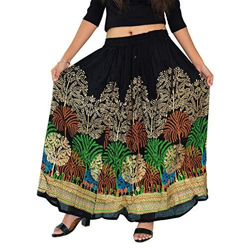 Nisrah Gypsy Boho Hippie Falda Larga para Mujer/Impresionante Falda India Bohemia Hippie Gitana Lentejuelas Verano Sundress Maxi Falda Negro Negro-2 Talla única